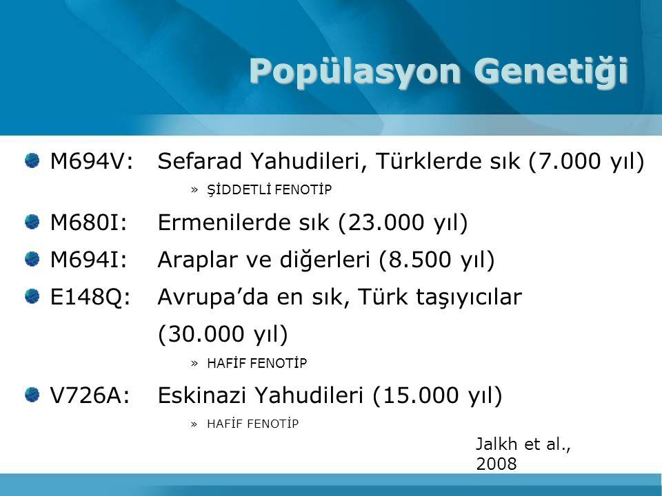 M694V:Sefarad Yahudileri, Türklerde sık (7.000 yıl) »ŞİDDETLİ FENOTİP M680I: Ermenilerde sık (23.000 yıl) M694I:Araplar ve diğerleri (8.500 yıl) E148Q