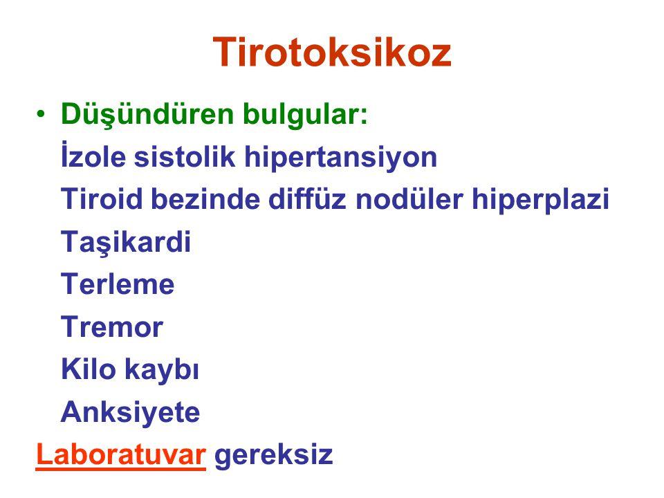 Tirotoksikoz Düşündüren bulgular: İzole sistolik hipertansiyon Tiroid bezinde diffüz nodüler hiperplazi Taşikardi Terleme Tremor Kilo kaybı Anksiyete