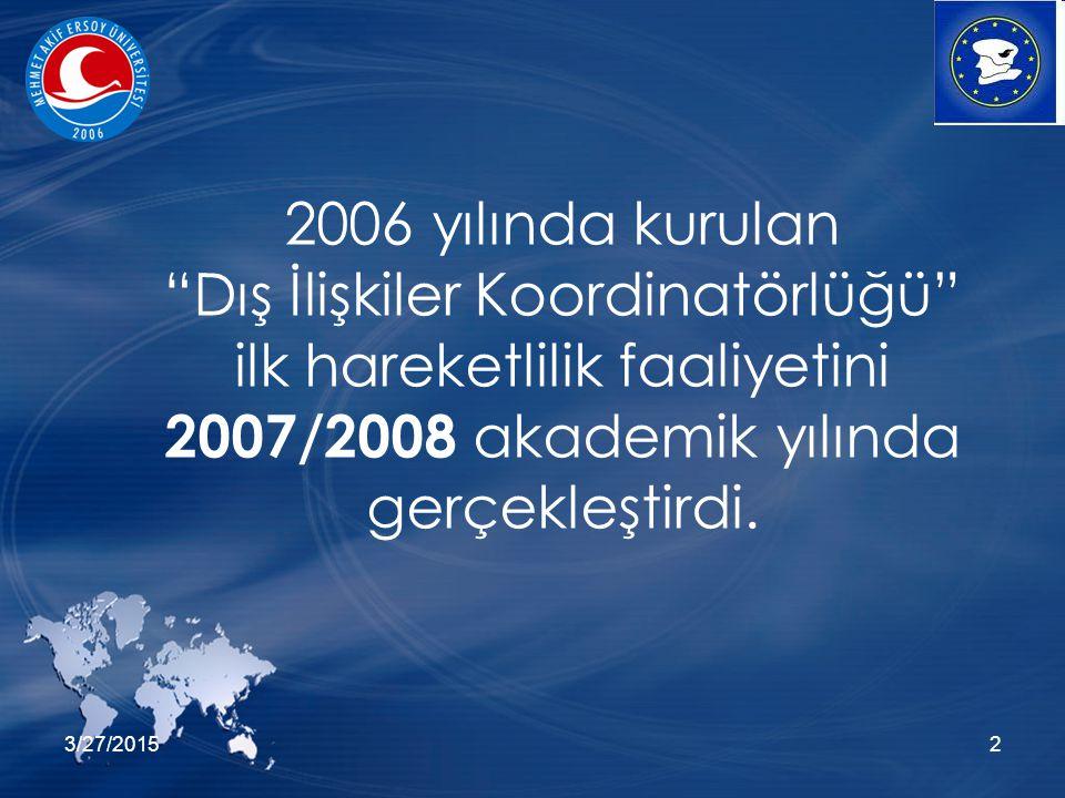"""3/27/20152 2006 yılında kurulan """"Dış İlişkiler Koordinatörlüğü"""" ilk hareketlilik faaliyetini 2007/2008 akademik yılında gerçekleştirdi."""