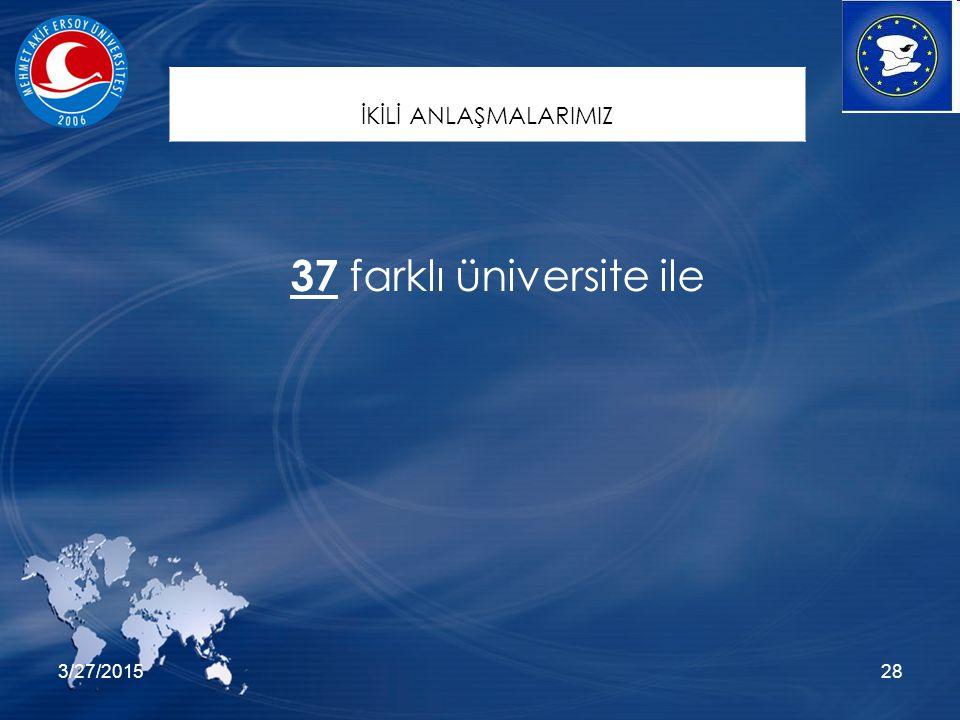 3/27/201528 37 farklı üniversite ile İKİLİ ANLAŞMALARIMIZ