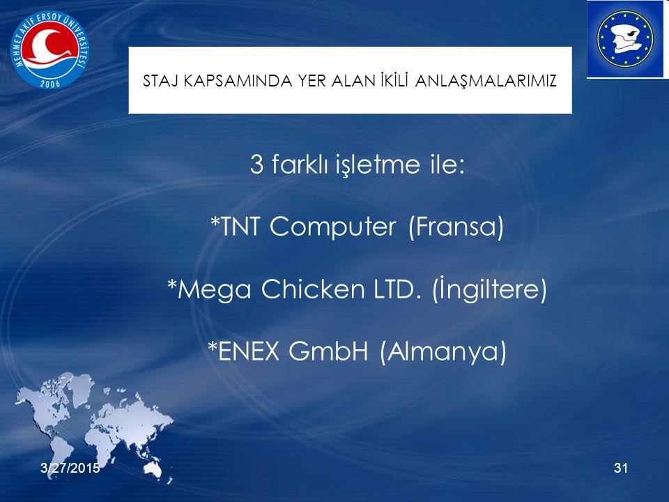 3/27/201531 3 farklı işletme ile: *TNT Computer (Fransa) *Mega Chicken LTD. (İngiltere) *ENEX GmbH (Almanya) STAJ KAPSAMINDA YER ALAN İKİLİ ANLAŞMALAR