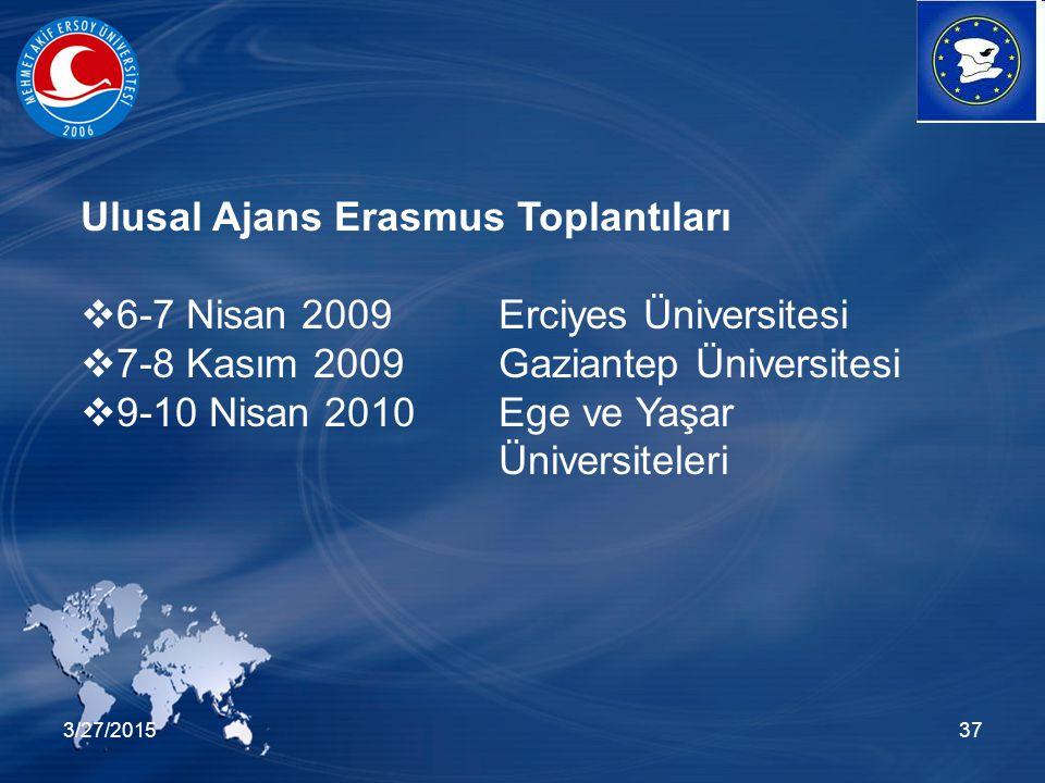 3/27/201537 Ulusal Ajans Erasmus Toplantıları  6-7 Nisan 2009Erciyes Üniversitesi  7-8 Kasım 2009 Gaziantep Üniversitesi  9-10 Nisan 2010 Ege ve Ya