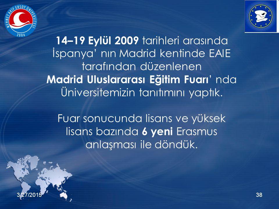 3/27/201538 14–19 Eylül 2009 tarihleri arasında İspanya' nın Madrid kentinde EAIE tarafından düzenlenen Madrid Uluslararası Eğitim Fuarı ' nda Üniversitemizin tanıtımını yaptık.