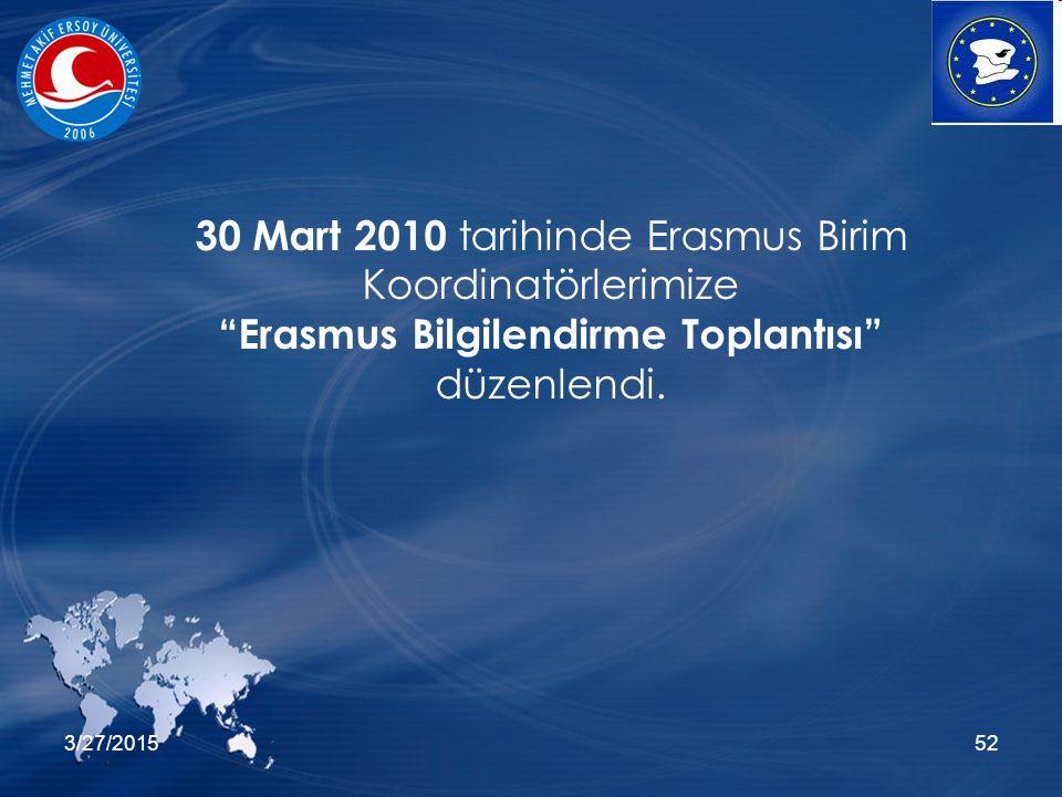 3/27/201552 30 Mart 2010 tarihinde Erasmus Birim Koordinatörlerimize Erasmus Bilgilendirme Toplantısı düzenlendi.