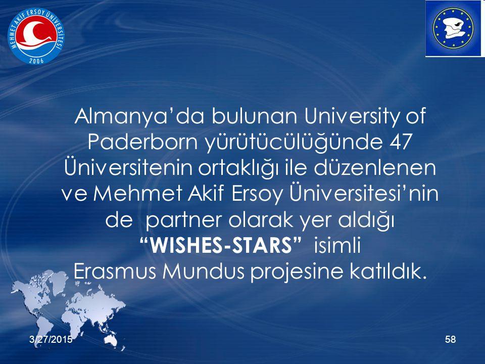 3/27/201558 Almanya'da bulunan University of Paderborn yürütücülüğünde 47 Üniversitenin ortaklığı ile düzenlenen ve Mehmet Akif Ersoy Üniversitesi'nin