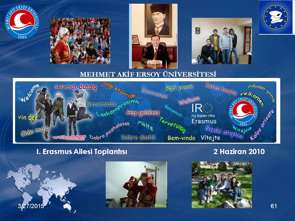 3/27/201561 I. Erasmus Ailesi Toplantısı2 Haziran 2010 MEHMET AKİF ERSOY ÜNİVERSİTESİ
