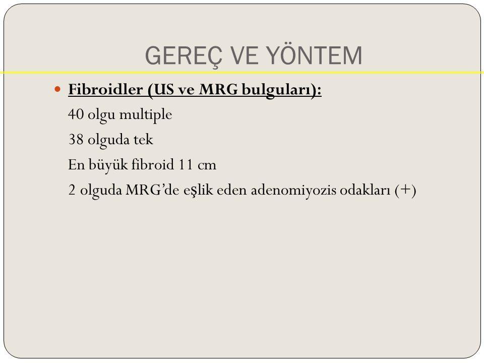 GEREÇ VE YÖNTEM Fibroidler (US ve MRG bulguları): 40 olgu multiple 38 olguda tek En büyük fibroid 11 cm 2 olguda MRG'de e ş lik eden adenomiyozis odakları (+)