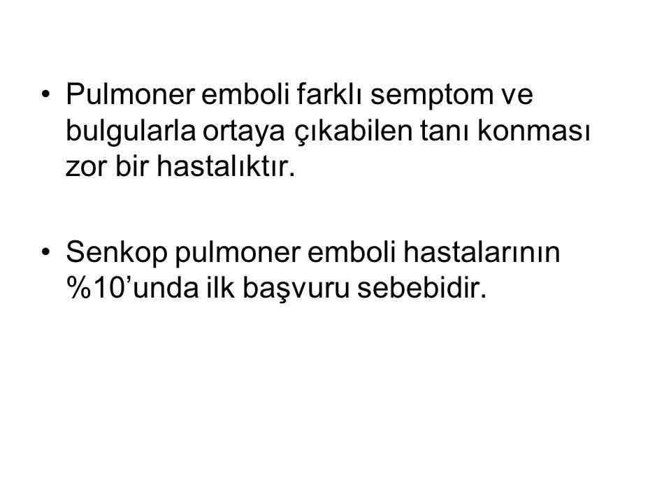 Pulmoner emboli farklı semptom ve bulgularla ortaya çıkabilen tanı konması zor bir hastalıktır. Senkop pulmoner emboli hastalarının %10'unda ilk başvu