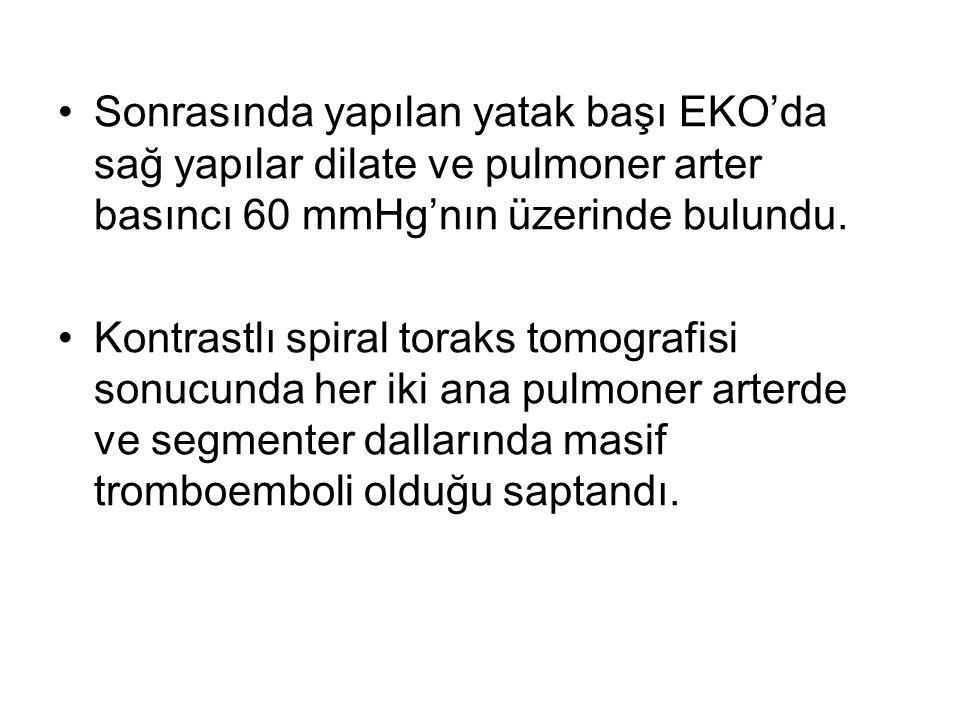 Sonrasında yapılan yatak başı EKO'da sağ yapılar dilate ve pulmoner arter basıncı 60 mmHg'nın üzerinde bulundu. Kontrastlı spiral toraks tomografisi s