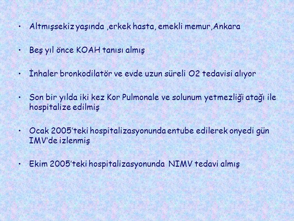 Altmışsekiz yaşında,erkek hasta, emekli memur,Ankara Beş yıl önce KOAH tanısı almış İnhaler bronkodilatör ve evde uzun süreli O2 tedavisi alıyor Son bir yılda iki kez Kor Pulmonale ve solunum yetmezliği atağı ile hospitalize edilmiş Ocak 2005'teki hospitalizasyonunda entube edilerek onyedi gün IMV'de izlenmiş Ekim 2005'teki hospitalizasyonunda NIMV tedavi almış