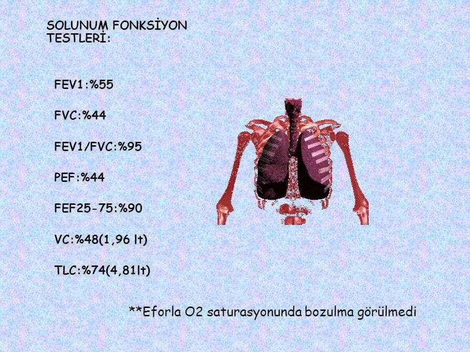 SOLUNUM FONKSİYON TESTLERİ: FEV1:%55 FVC:%44 FEV1/FVC:%95 PEF:%44 FEF25-75:%90 VC:%48(1,96 lt) TLC:%74(4,81lt) **Eforla O2 saturasyonunda bozulma görülmedi