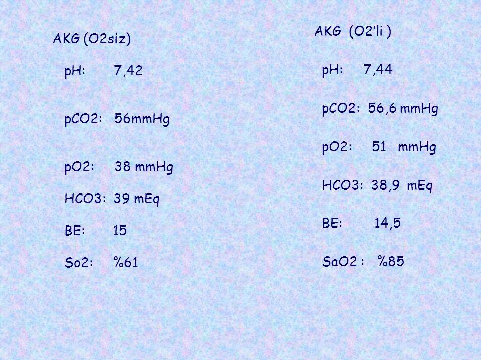 AKG (O2'li ) pH: 7,44 pCO2: 56,6 mmHg pO2: 51 mmHg HCO3: 38,9 mEq BE: 14,5 SaO2 : %85 AKG (O2siz) pH: 7,42 pCO2: 56mmHg pO2: 38 mmHg HCO3: 39 mEq BE: 15 So2: %61
