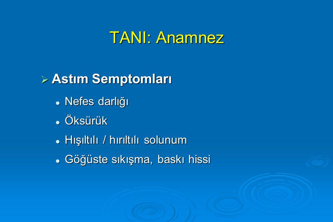 TANI: Anamnez  Astım Semptomları Nefes darlığı Nefes darlığı Öksürük Öksürük Hışıltılı / hırıltılı solunum Hışıltılı / hırıltılı solunum Göğüste sıkı