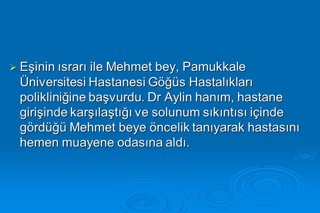  Eşinin ısrarı ile Mehmet bey, Pamukkale Üniversitesi Hastanesi Göğüs Hastalıkları polikliniğine başvurdu. Dr Aylin hanım, hastane girişinde karşılaş