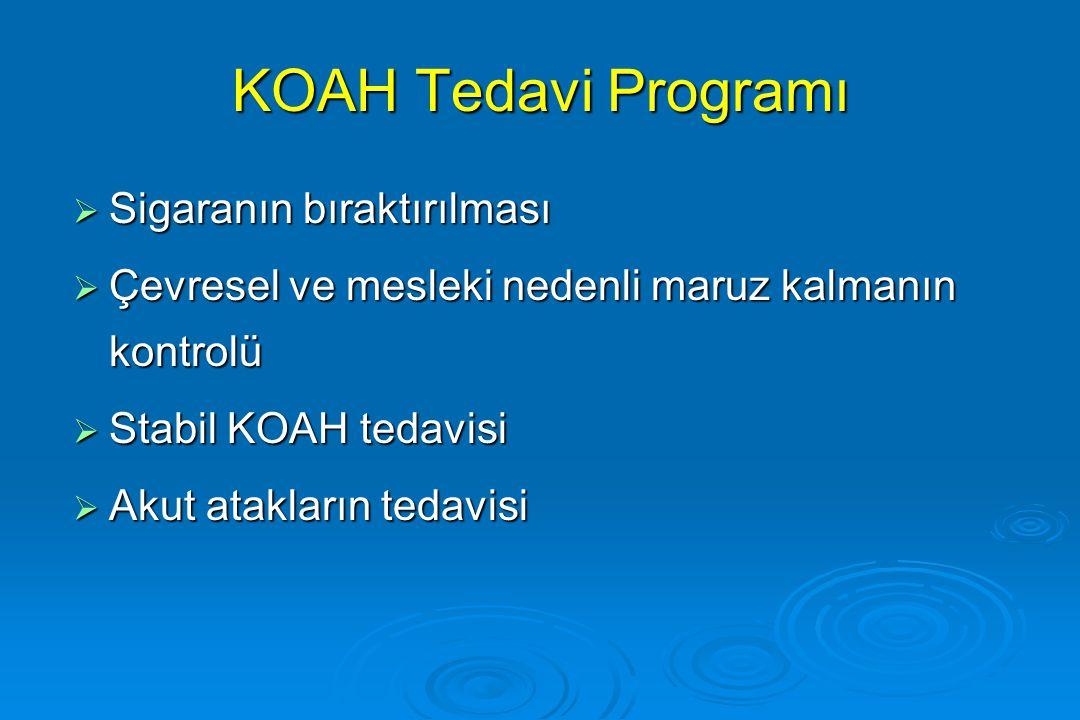 KOAH Tedavi Programı  Sigaranın bıraktırılması  Çevresel ve mesleki nedenli maruz kalmanın kontrolü  Stabil KOAH tedavisi  Akut atakların tedavisi