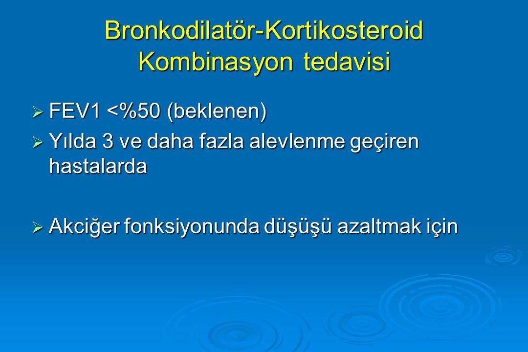 Bronkodilatör-Kortikosteroid Kombinasyon tedavisi  FEV1 <%50 (beklenen)  Yılda 3 ve daha fazla alevlenme geçiren hastalarda  Akciğer fonksiyonunda