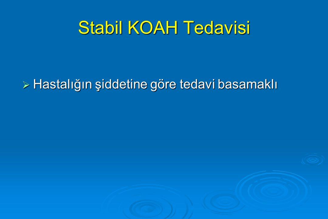 Stabil KOAH Tedavisi  Hastalığın şiddetine göre tedavi basamaklı