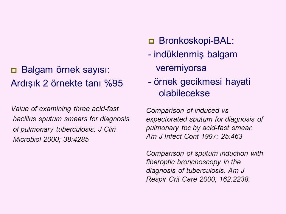  Balgam örnek sayısı: Ardışık 2 örnekte tanı %95 Value of examining three acid-fast bacillus sputum smears for diagnosis of pulmonary tuberculosis. J