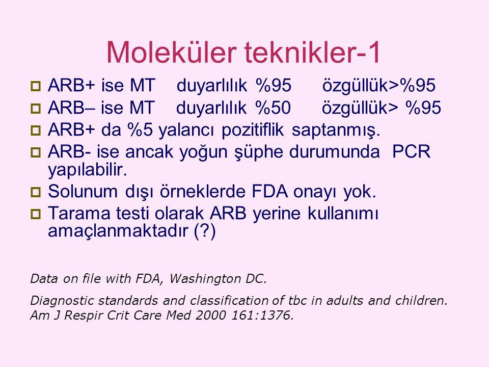Moleküler teknikler-1  ARB+ ise MT duyarlılık %95 özgüllük>%95  ARB– ise MT duyarlılık %50 özgüllük> %95  ARB+ da %5 yalancı pozitiflik saptanmış.