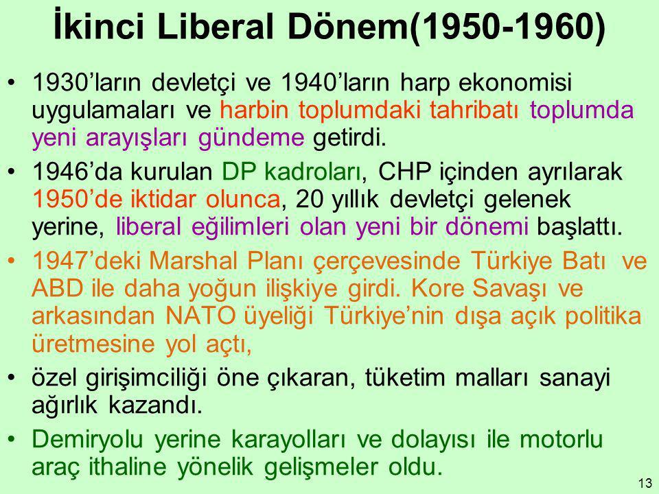 13 İkinci Liberal Dönem(1950-1960) 1930'ların devletçi ve 1940'ların harp ekonomisi uygulamaları ve harbin toplumdaki tahribatı toplumda yeni arayışla