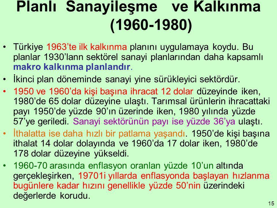 15 Planlı Sanayileşme ve Kalkınma (1960-1980) Türkiye 1963'te ilk kalkınma planını uygulamaya koydu. Bu planlar 1930'lann sektörel sanayi planlarında