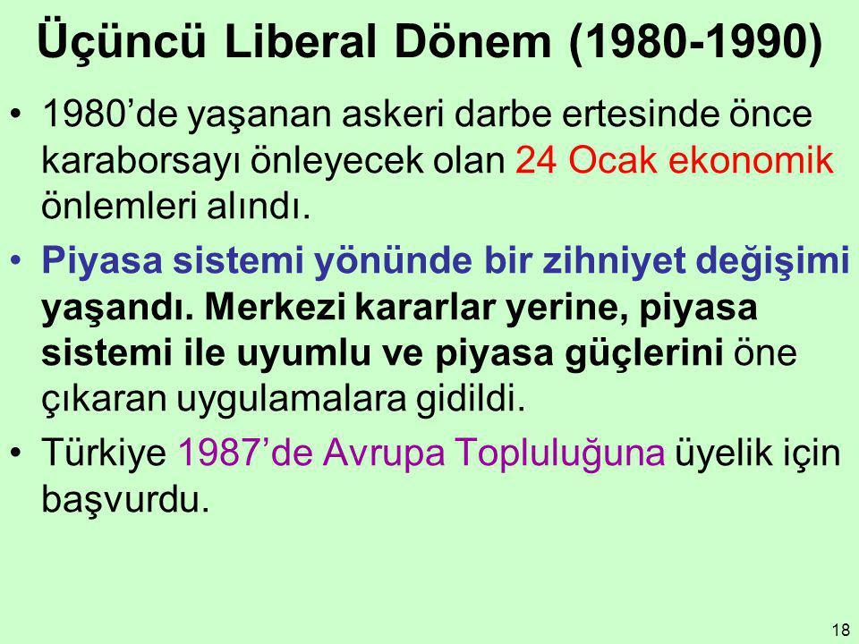 18 Üçüncü Liberal Dönem (1980-1990) 1980'de yaşanan askeri darbe ertesinde önce karaborsayı önleyecek olan 24 Ocak ekonomik önlemleri alındı. Piyasa s