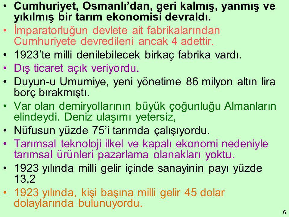 6 Cumhuriyet, Osmanlı'dan, geri kalmış, yanmış ve yıkılmış bir tarım ekonomisi devraldı. İmparatorluğun devlete ait fabrikalarından Cumhuriyete devred