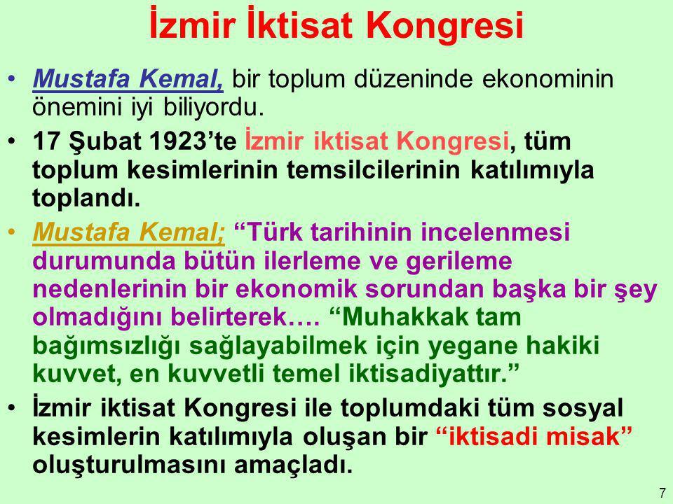 7 İzmir İktisat Kongresi Mustafa Kemal, bir toplum düzeninde ekonominin önemini iyi biliyordu. 17 Şubat 1923'te İzmir iktisat Kongresi, tüm toplum kes