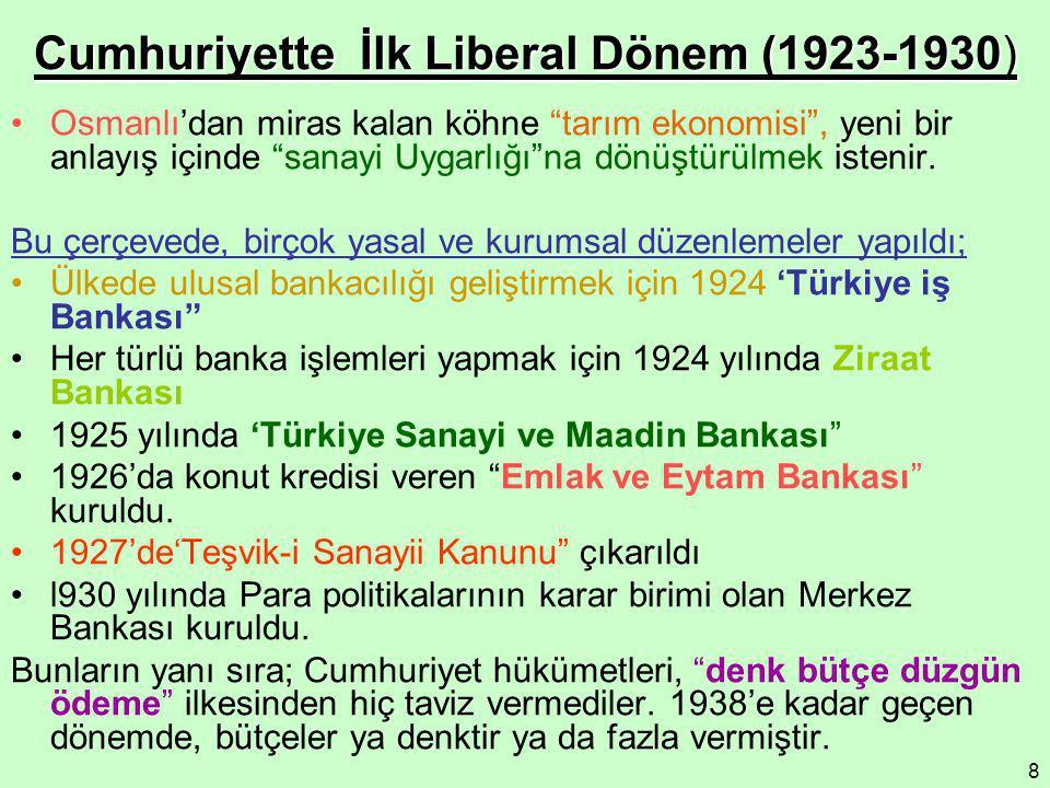 """8 Cumhuriyette İlk Liberal Dönem (1923-1930) Osmanlı'dan miras kalan köhne """"tarım ekonomisi"""", yeni bir anlayış içinde """"sanayi Uygarlığı""""na dönüştürülm"""
