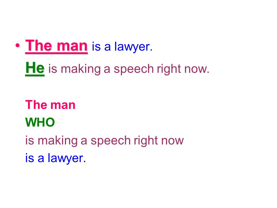 The manThe man is a lawyer. He He is making a speech right now. The man WHO is making a speech right now is a lawyer.