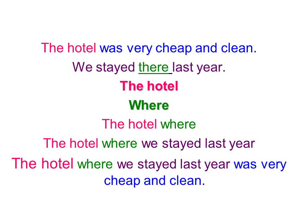 The hotel was very cheap and clean. We stayed there last year. The hotel Where The hotel where The hotel where we stayed last year The hotel where we