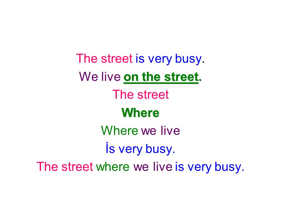 The street is very busy. on the street. We live on the street. The streetWhere Where we live İs very busy. The street where we live is very busy.