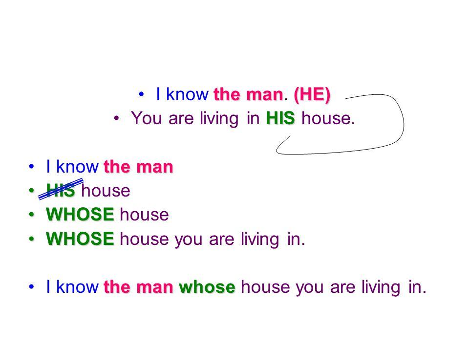 I know t tt the man. ( (( (HE) You are living in H HH HIS house. I know t tt the man HIS house WHOSE house WHOSE house you are living in. I know t tt