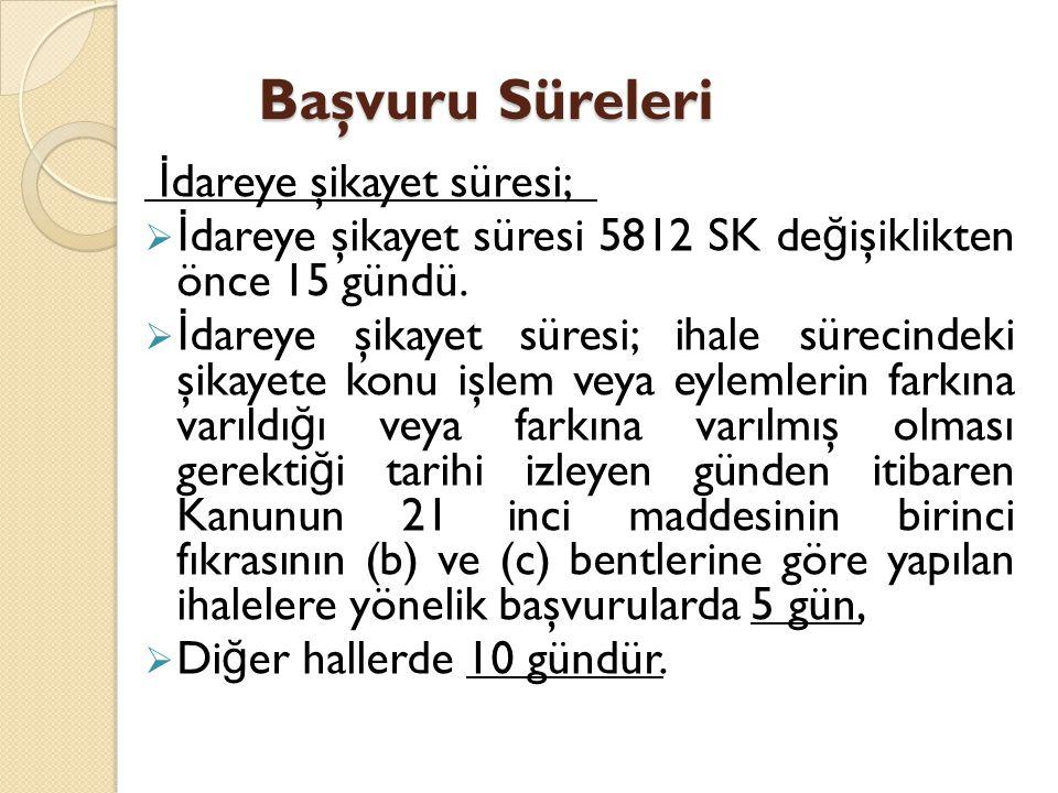 Başvuru Süreleri Başvuru Süreleri İ dareye şikayet süresi;  İ dareye şikayet süresi 5812 SK de ğ işiklikten önce 15 gündü.