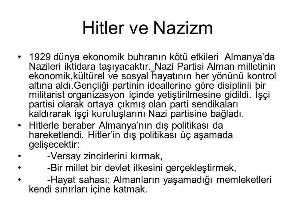 Hitler ve Nazizm 1929 dünya ekonomik buhranın kötü etkileri Almanya'da Nazileri iktidara taşıyacaktır. Nazi Partisi Alman milletinin ekonomik,kültürel