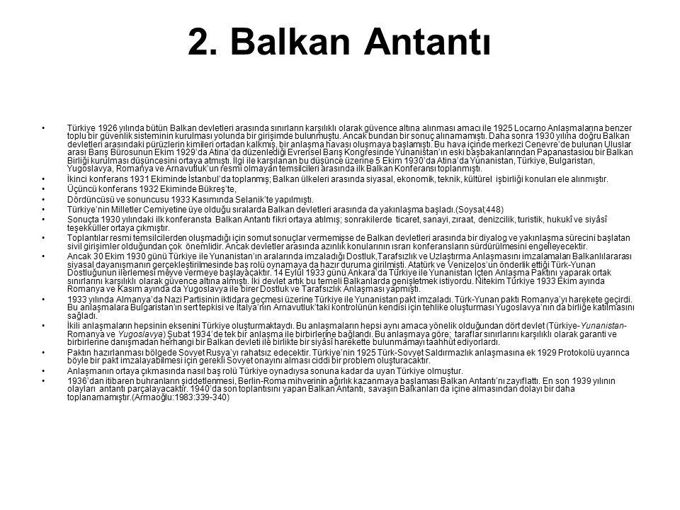 2. Balkan Antantı Türkiye 1926 yılında bütün Balkan devletleri arasında sınırların karşılıklı olarak güvence altına alınması amacı ile 1925 Locarno An