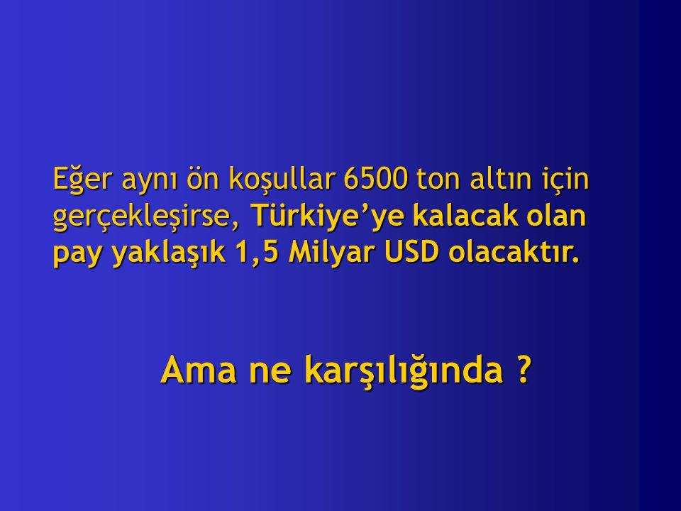 Eğer aynı ön koşullar 6500 ton altın için gerçekleşirse, Türkiye'ye kalacak olan pay yaklaşık 1,5 Milyar USD olacaktır.