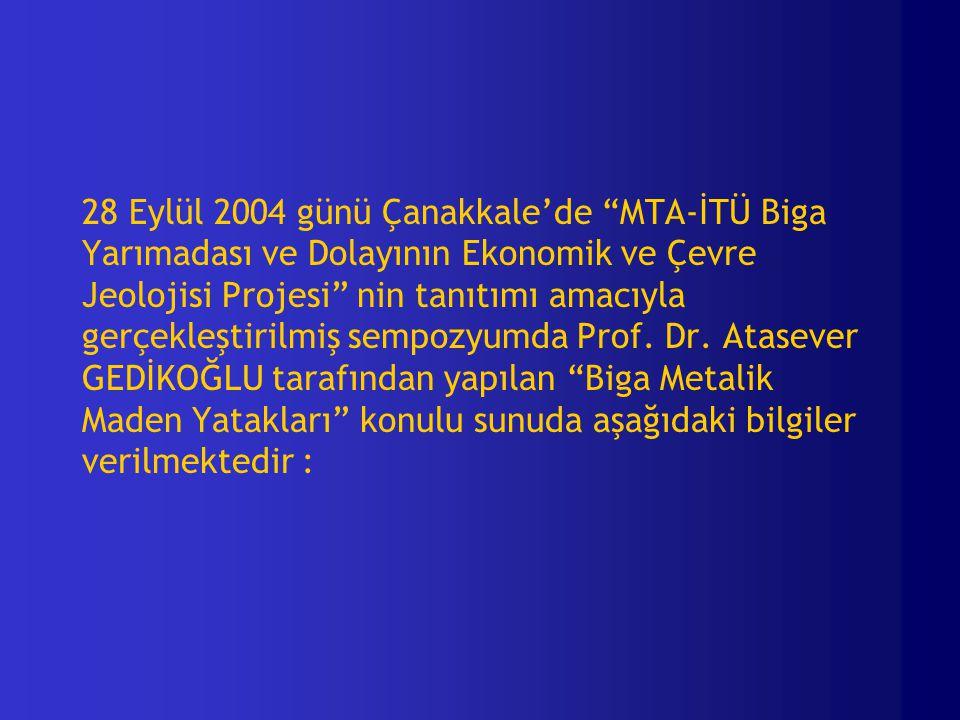 28 Eylül 2004 günü Çanakkale'de MTA-İTÜ Biga Yarımadası ve Dolayının Ekonomik ve Çevre Jeolojisi Projesi nin tanıtımı amacıyla gerçekleştirilmiş sempozyumda Prof.