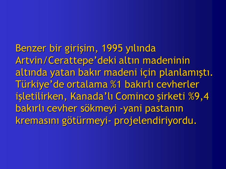 Benzer bir girişim, 1995 yılında Artvin/Cerattepe'deki altın madeninin altında yatan bakır madeni için planlamıştı.