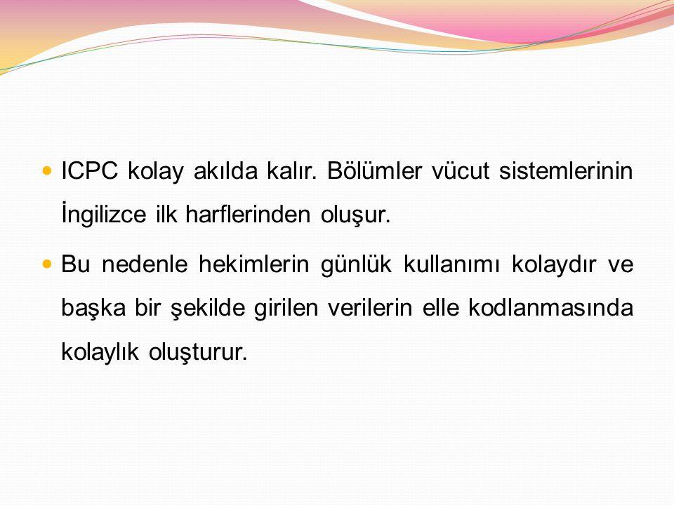 ICPC kolay akılda kalır. Bölümler vücut sistemlerinin İngilizce ilk harflerinden oluşur. Bu nedenle hekimlerin günlük kullanımı kolaydır ve başka bir