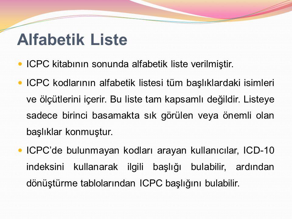 Alfabetik Liste ICPC kitabının sonunda alfabetik liste verilmiştir. ICPC kodlarının alfabetik listesi tüm başlıklardaki isimleri ve ölçütlerini içerir