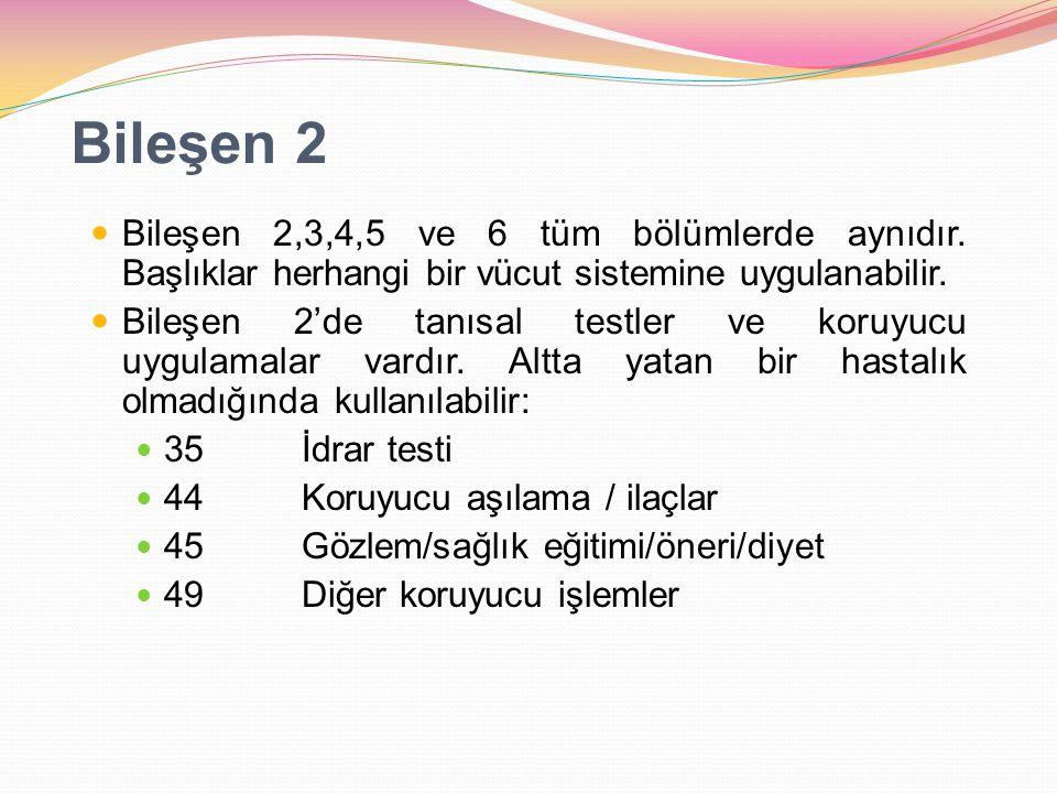 Bileşen 2 Bileşen 2,3,4,5 ve 6 tüm bölümlerde aynıdır. Başlıklar herhangi bir vücut sistemine uygulanabilir. Bileşen 2'de tanısal testler ve koruyucu