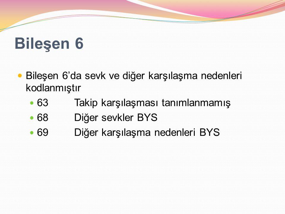 Bileşen 6 Bileşen 6'da sevk ve diğer karşılaşma nedenleri kodlanmıştır 63Takip karşılaşması tanımlanmamış 68Diğer sevkler BYS 69Diğer karşılaşma neden
