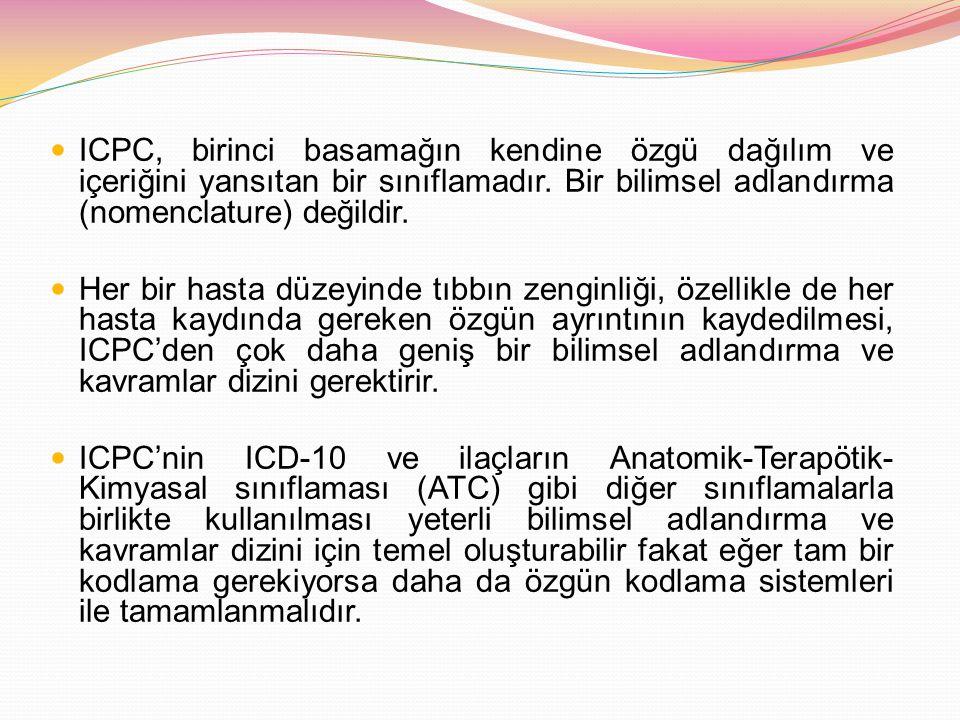 ICPC, birinci basamağın kendine özgü dağılım ve içeriğini yansıtan bir sınıflamadır. Bir bilimsel adlandırma (nomenclature) değildir. Her bir hasta dü