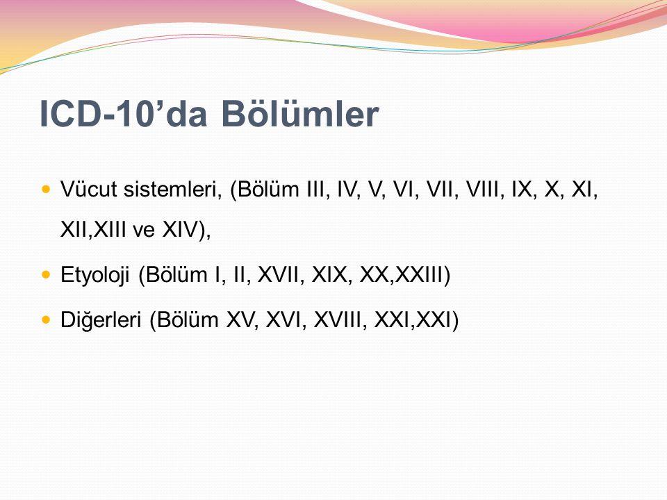 ICD-10'da Bölümler Vücut sistemleri, (Bölüm III, IV, V, VI, VII, VIII, IX, X, XI, XII,XIII ve XIV), Etyoloji (Bölüm I, II, XVII, XIX, XX,XXIII) Diğerl