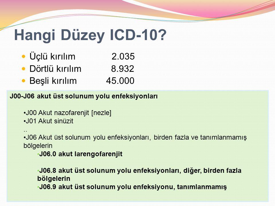 Hangi Düzey ICD-10? Üçlü kırılım 2.035 Dörtlü kırılım 8.932 Beşli kırılım 45.000 J00-J06 akut üst solunum yolu enfeksiyonları J00 Akut nazofarenjit [n
