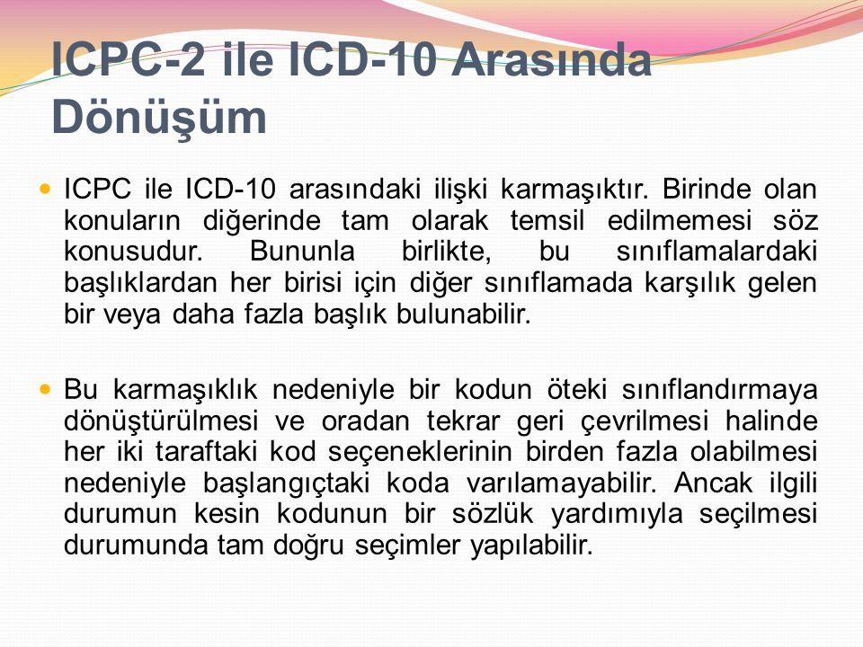 ICPC-2 ile ICD-10 Arasında Dönüşüm ICPC ile ICD-10 arasındaki ilişki karmaşıktır. Birinde olan konuların diğerinde tam olarak temsil edilmemesi söz ko