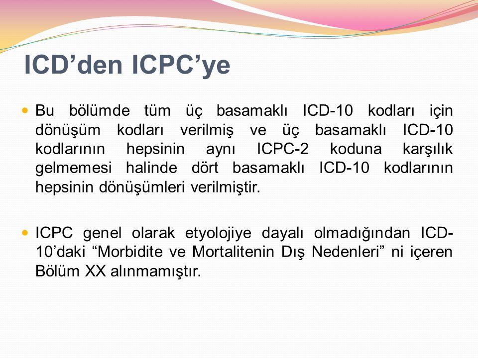 ICD'den ICPC'ye Bu bölümde tüm üç basamaklı ICD-10 kodları için dönüşüm kodları verilmiş ve üç basamaklı ICD-10 kodlarının hepsinin aynı ICPC-2 koduna