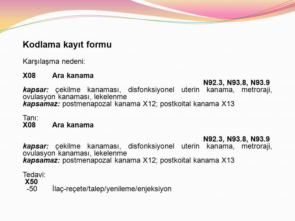 Kodlama kayıt formu Karşılaşma nedeni: X08Ara kanama N92.3, N93.8, N93.9 kapsar: çekilme kanaması, disfonksiyonel uterin kanama, metroraji, ovulasyon