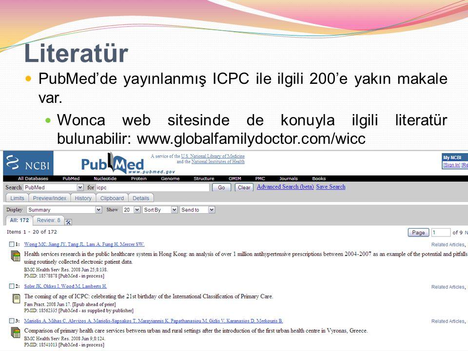 Literatür PubMed'de yayınlanmış ICPC ile ilgili 200'e yakın makale var. Wonca web sitesinde de konuyla ilgili literatür bulunabilir: www.globalfamilyd